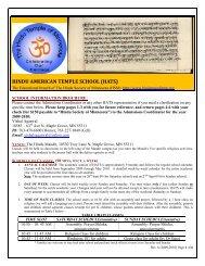 HINDU AMERICAN TEMPLE SCHOOL (HATS) - Hindu Temple