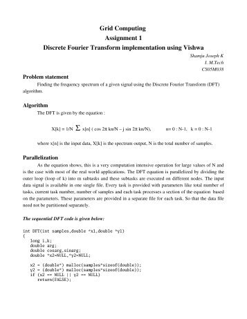 Grid Computing Assignment 1 Discrete Fourier Transform ...