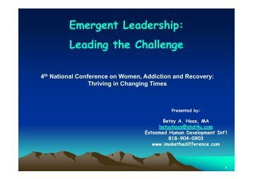 D-9.0 Emergent Leadership - Women, Children and Families