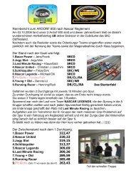 Rennbericht zum ARDORF 600 nach Nascar ... - SRC-Ostfriesland