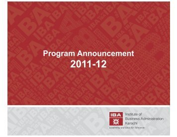 Program Announcement 2011-12 - Institute of Business Administration