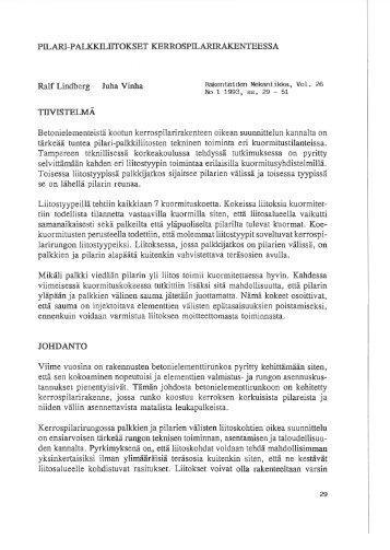 Pilari-palkkiliitokset kerrospilarirakenteissa - Rakenteiden ...