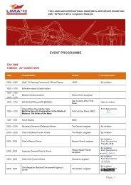 EVENT PROGRAMME - LIMA'13 - Langkawi International Maritime ...