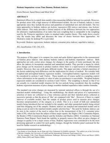 Hedonic Imputation versus Time Dummy Hedonic Indexes Erwin ...