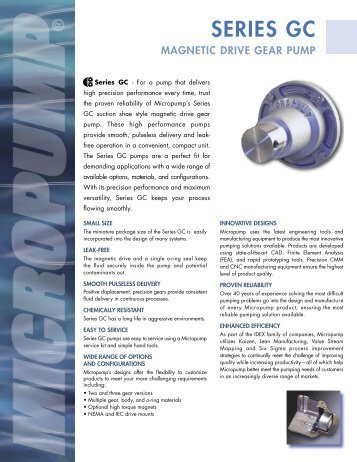 Micropump Series GC Data Sheet - Michael Smith Engineers Ltd