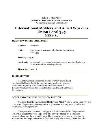 International Molders and Allied Workers Union Local 395 MSS# 87