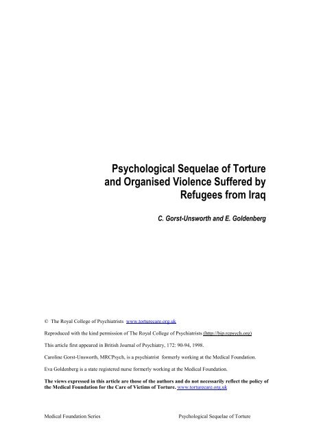 Psychological Sequelae of Torture and Organised Violence Suffered