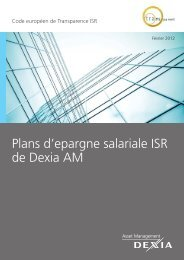 Plans d'epargne salariale ISR de Dexia AM