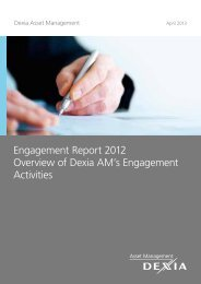 Engagement Report 2012 Overview of Dexia AM's Engagement ...