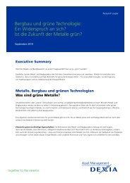 Bergbau und grüne Technologie - Dexia Asset Management