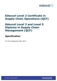 Edexcel Level 3 and Level 5 Diploma in Supply Chain Management