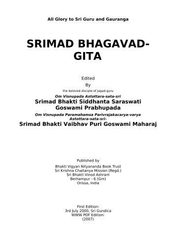 Srimad Bhagavad Gita - Srila Bhakti Vaibhava Puri Maharaja