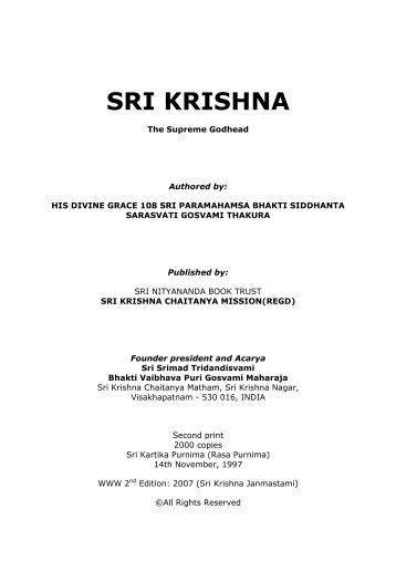 Sri Krishna, The Supreme Godhead - Srila Bhakti Vaibhava Puri ...