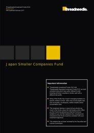 Japan Smaller Companies Fund - Threadneedle - Investments