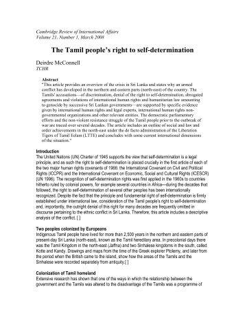 The Tamil people's right to self-determination - Ilankai Tamil Sangam