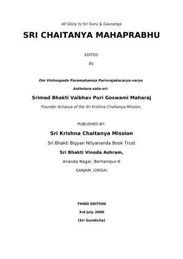 Sri Caitanya Mahaprabhu - Srila Bhakti Vaibhava Puri Maharaja