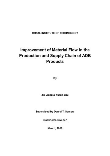 Improvement of Material Flow in the Production and Supply Chain of ...