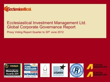 Quarterly voting report - Q2 2012 - Ecclesiastical Insurance