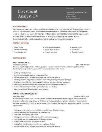 Security Guard CV template - Dayjob investment analyst CV template - Dayjob