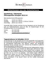 Mitteilungen der Schulleitung - Schule-Eschenbach