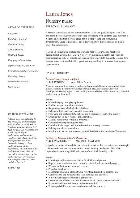 nursery nurse cv template