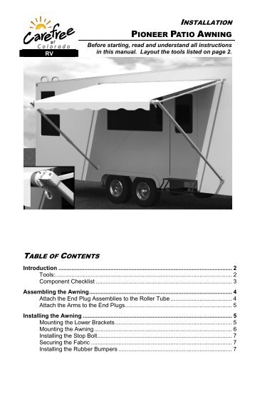 ONE Touch Patio Awning Tractioner Instructions