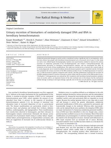 Urinary excretion of biomarkers of oxidatively damaged ... - CPNC