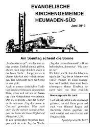 Am Sonntag scheint die Sonne - Kirchengemeinde Heumaden-Süd