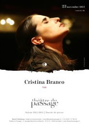 Cristina Branco - Théâtre du Passage