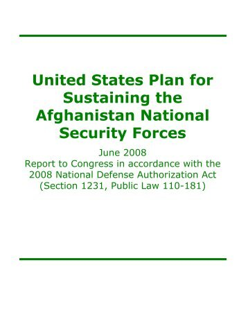 United States Plan for Sustaining the Afghanistan National Security ...