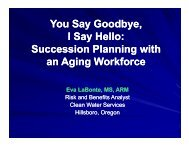 Succession Planning with an Aging Workforce - PNCWA Home