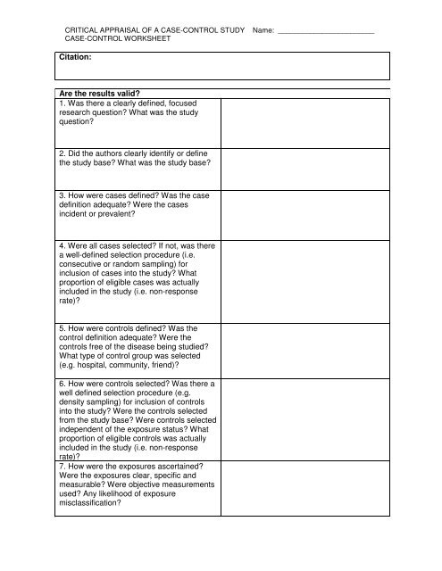 Critical Appraisal Worksheet for a Case-Control Study