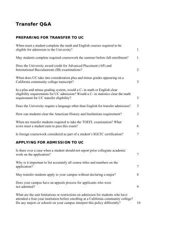 Transfer Q&A - San Diego Mesa College