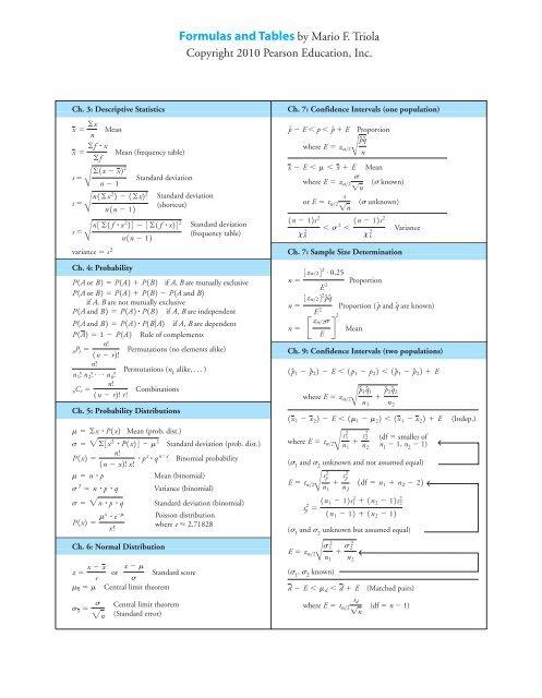 Triola S The Basic Practice Of Statistics Formulas Tables