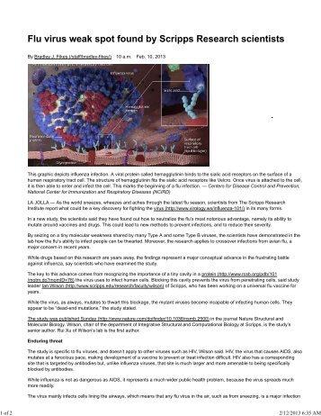 Scripps Finds Way to Fight Flu Virus - San Diego Mesa College