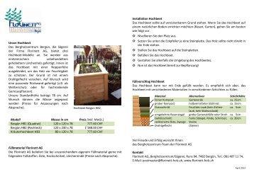 Unser Hochbeet Das Bergholzzentrum Bergün, die ... - Florinett AG