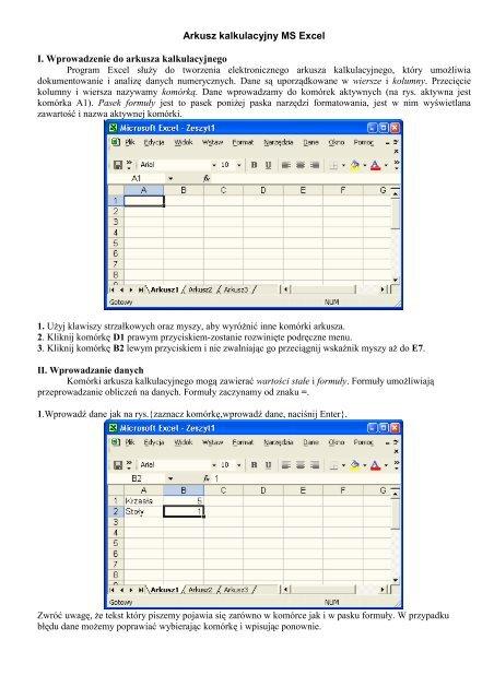 Arkusz Kalkulacyjny Ms Excel I Wprowadzenie Do Arkusza