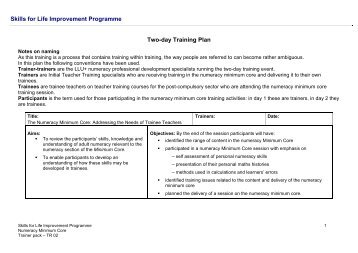 2 Day Training Plan - Skills for Life Improvement Programme