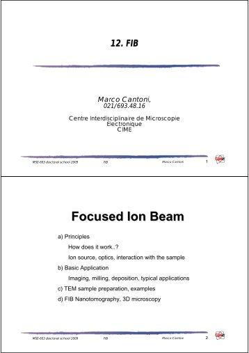Intensive SEM/TEM training Contacts - CIME - EPFL