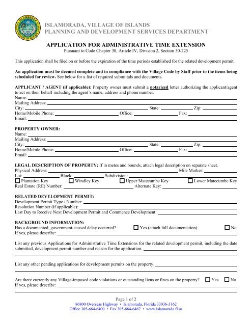 Administrative Time Extension Application - Islamorada