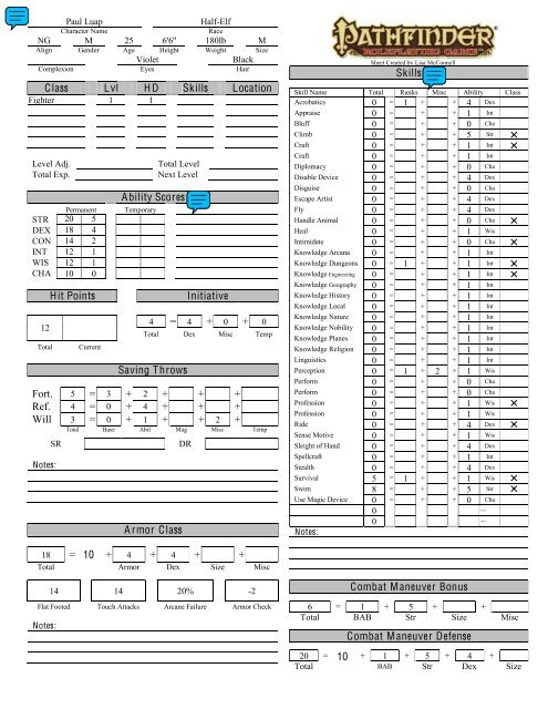 photo relating to Pathfinder Printable Character Sheet named Pathfinder 2 Temperament Sheet