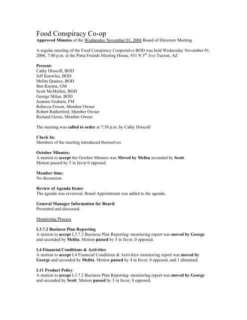 Food Conspiracy Board Meeting Agenda Template