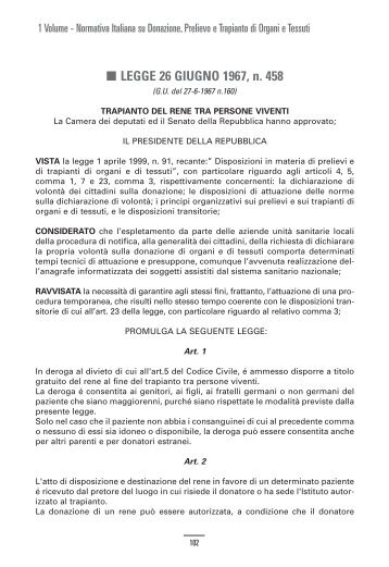 01 1967 Legge 26 GIUGNO n. 458 Trapianto Rene Viv
