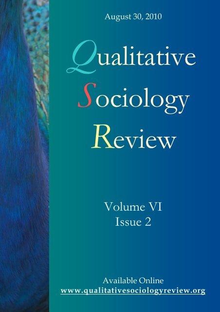 Volume VI Issue 2 August 2010 Qualitative Sociology