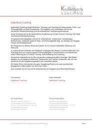 Trainerprofil - Kadenbach Coaching