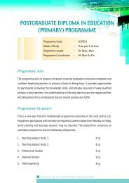 Postgraduate Diploma in Education(Primary) Programme (One-year ...
