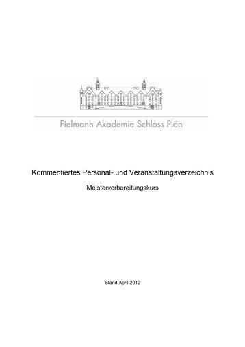 Kommentiertes Personal- und Veranstaltungsverzeichnis