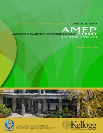 ADVANCED MANAGEMENT EDUCATION PROGRAM2010 June 6-10
