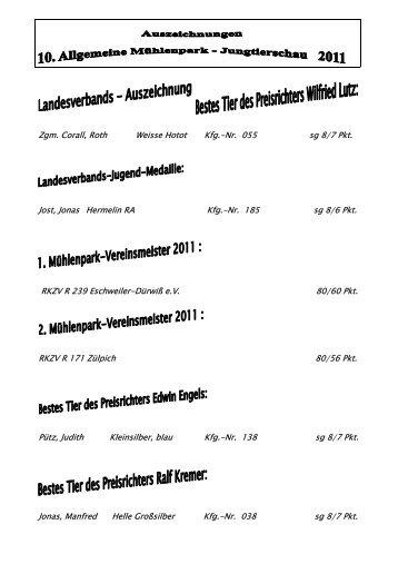 10. Allg. Jungtierschau 04.-05. Juni 2011