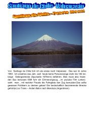 Von Santiago de Chile fuhr ich als erstes nach Valparaiso . Das war ...